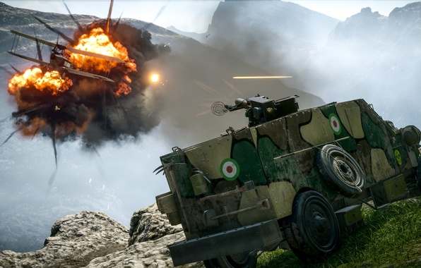 Picture fire, battlefield, flame, gun, Car, game, smoke, weapon, war, rocks, death, valley, shot, armored, spark, …