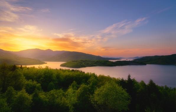 Photo wallpaper forest, sunset, mountains, lake, Greece, Greece, Reservoir Tavropos, Tavropos Reservoir, Plateau Necropolis, Lake Plastiras, Lake ...