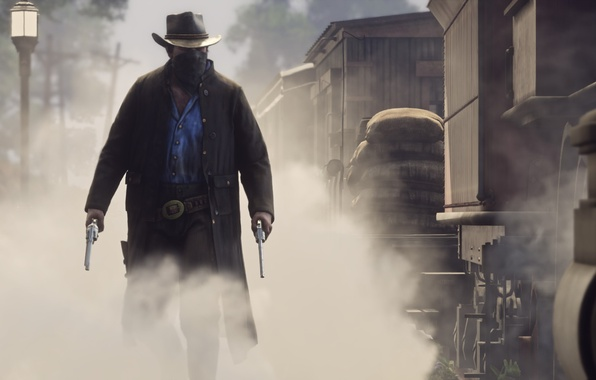 Picture weapons, smoke, cowboy, revolvers, Red Dead Redemption 2, Red Dead