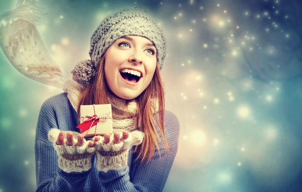 Picture girl, snow, joy, gift, hat, scarf, sweater, box, mitts