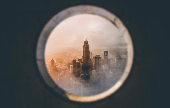 Picture the city, window, Malaysia, Kuala Lumpur, Petronas Twin Towers
