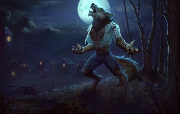 Picture the moon, fantasy, art, the full moon, werewolf, Jon Neimeister, Fenrir Wolfman