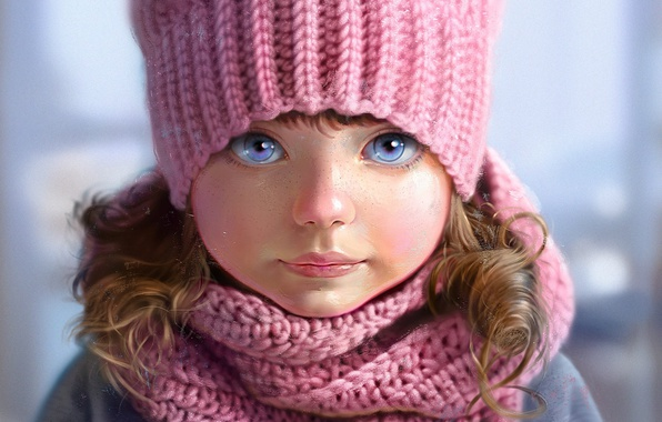 Picture face, hat, portrait, scarf, girl, freckles, pink, blue eyes, grey background, art, knitted, Nutsa