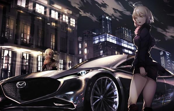 Picture machine, auto, night, the city, girls, Fate / Grand Order