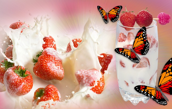 Picture STRAWBERRY, BUTTERFLY, MOOD, THE WALLPAPERS, CREAM