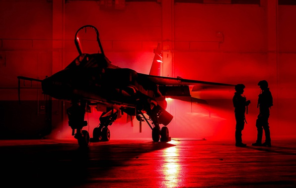 Picture Jaguar, hangar, pilots, fighter-bomber, SEPECAT