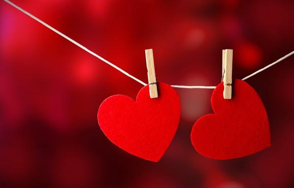 Picture background, hearts, love, garland, clothespins, Valentine's Day
