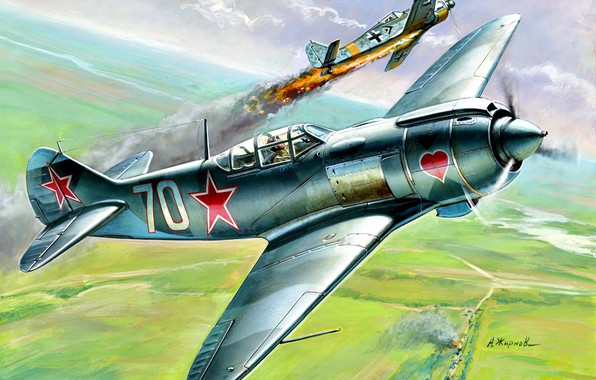 Picture The great Patriotic war, Air force, La 5FN, Focke-Wulf, CCCP, WWII, Fw.190A, Soviet Air Force, …