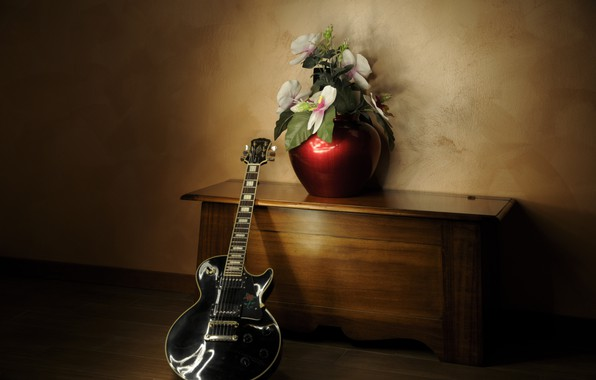 Picture flowers, music, guitar
