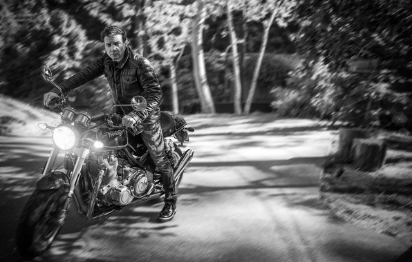 Picture road, forest, trees, background, jeans, blur, jacket, motorcycle, actor, black and white, biker, bike, photoshoot, …