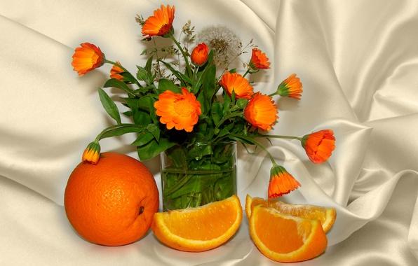Picture summer, flowers, orange, still life, calendula, orange color, author's photo by Elena Anikina