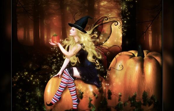 Picture forest, girl, pumpkin, Digital Art, brandrificus, time for tricks and treats
