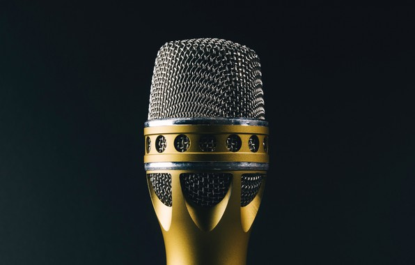 Picture macro, background, microphone, singing