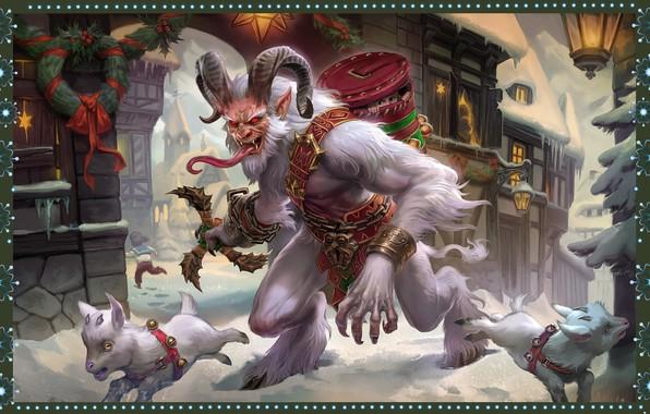 Picture holiday, new year, Christmas, art, illustrator, SMITE Krampus Cernunnos, Simon Eckert