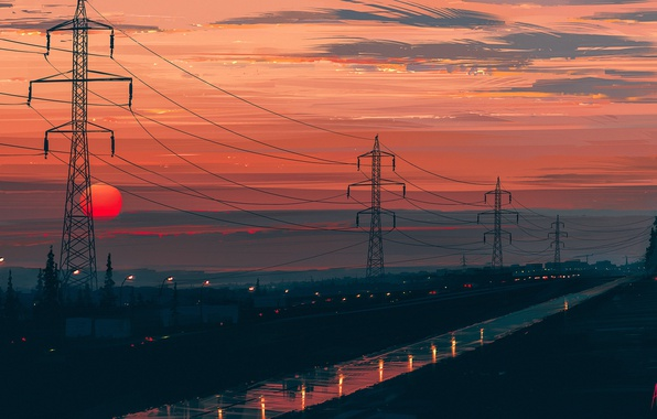 Picture road, the sun, landscape, sunset, Aenami, Any Minute Now, the power lines, Alena Aenam The, …