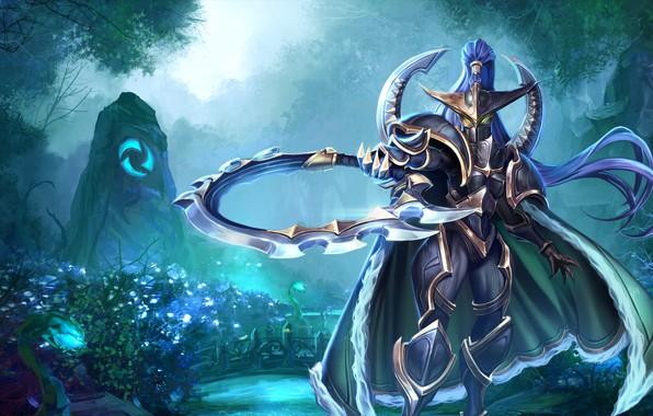 Picture World of Warcraft, fantasy, game, Warcraft, armor, green eyes, weapons, digital art, artwork, mask, warrior, …