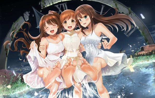 Picture the evening, barefoot, dial, river, in the water, art, fun, friend, white sundress, Casino, Uzuki …