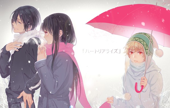 Picture girl, umbrella, A Homeless God, Noragami, Yato, Yukine