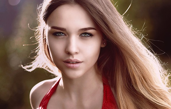 Picture look, the sun, glare, portrait, makeup, hairstyle, blonde, beauty, in red, Karina, bokeh, Vitalik Nelzin