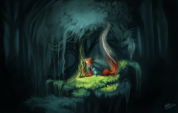 Photo wallpaper forest, Fox, the spirit of the forest, nature, butterfly, fantasy, by TehChan