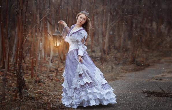 Picture forest, girl, trees, pose, mood, the situation, crown, dress, lantern, photographer Svetlana Nicotine, Natalia Emelyanova