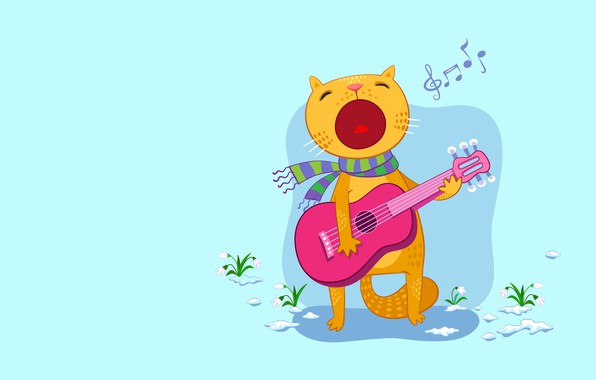 Picture cat, mood, holiday, gift, guitar, vector, spring, art, song, snowdrop, surprise, March, 8 Matra, March …