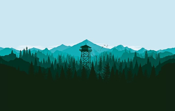 Picture Mountains, The game, Forest, View, Birds, Hills, Landscape, Tower, Campo Santo, Firewatch, Fire watch