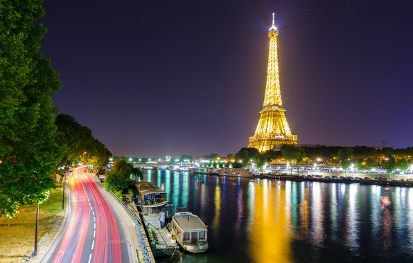 Picture lights, river, France, Paris, Hay, Eiffel tower