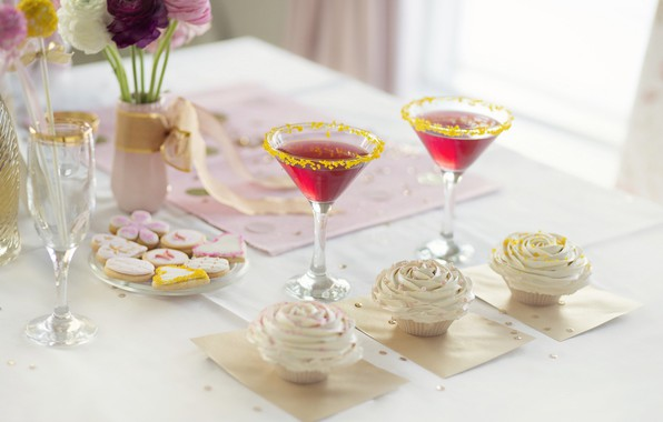Picture flowers, holiday, cookies, glasses, candy, vase, cream, sweet, glaze, cupcakes, cupcakes