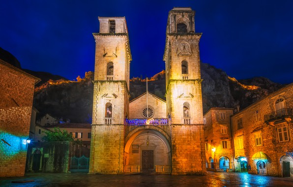 Picture mountains, night, lights, Church, temple, Montenegro, Kotor Cathedral