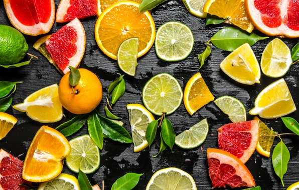 Picture background, orange, lime, fruit, citrus, lemons, slices, Mandarin, the grapefruit