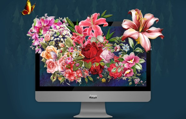 Picture flowers, the world, photoshop, apple, mac, monitor, photo, photoshop, monitor
