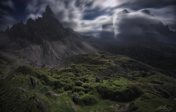 Picture clouds, light, mountains, night, rocks, the moon