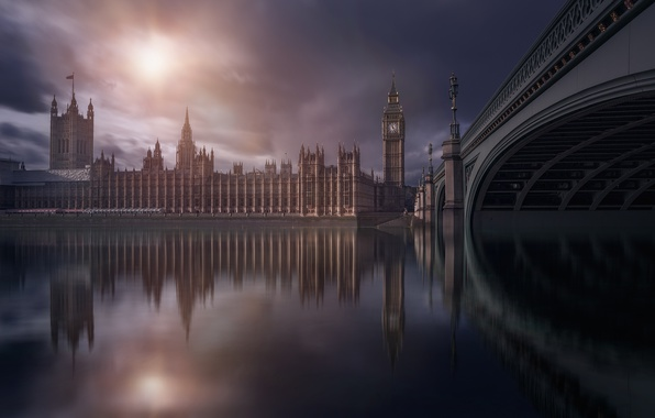 Picture bridge, the city, river, England, London, UK, capital