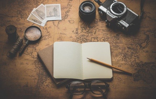 Photo wallpaper map, glasses, the camera, Notepad, pencil, thread, magnifier