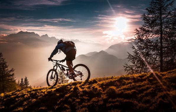 Picture sport, forest, bicycle, twilight, sky, bike, trees, sunset, mountains, clouds, sun, fog, man, meadow, mist, …