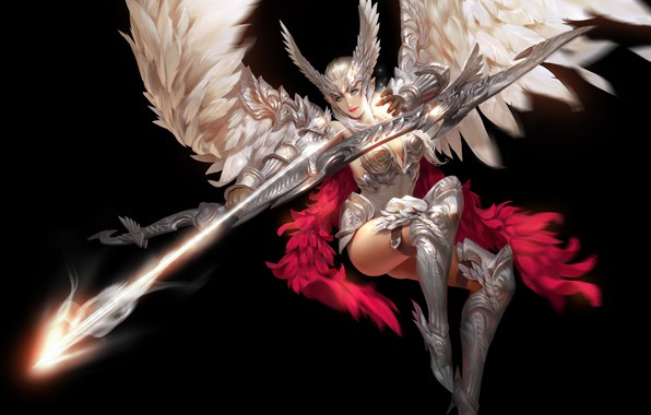 Picture look, girl, pose, weapons, background, wings, feathers, art, costume