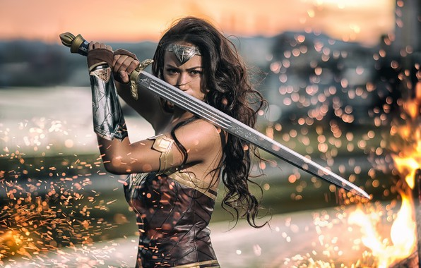 Picture girl, fire, sword