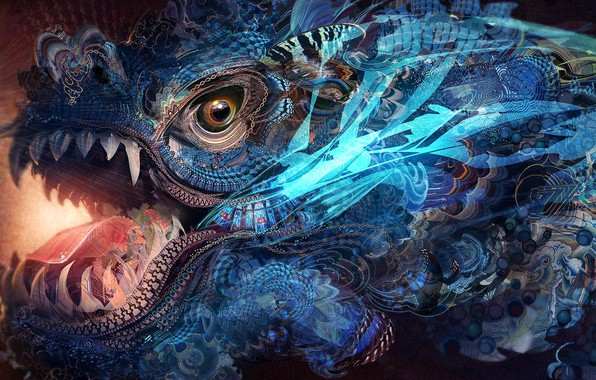 Picture colors, colorful, abstract, fantasy, texture, dragon, eye, rendering, digital art, artwork, jaws, Psychedelic