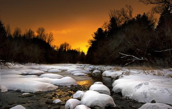 Picture winter, landscape, sunset, nature, river