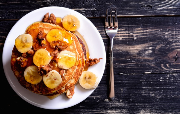 Picture honey, bananas, nuts, pancakes, pancakes