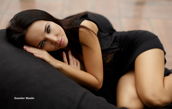 Picture look, girl, pose, in black, Angelina Petrova