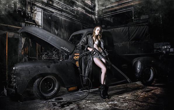 Picture machine, auto, girl, pose, shorts, cigarette, cloak, pickup, car wash, CARWASH RETRO