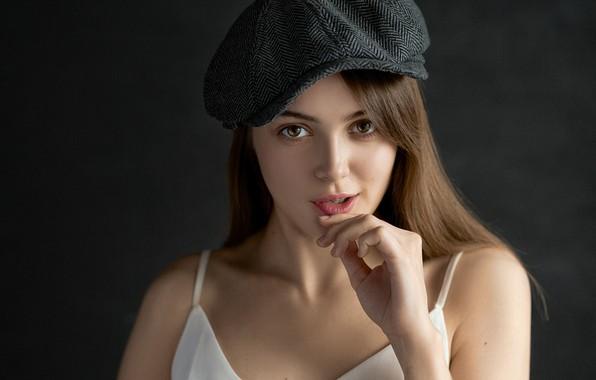 Picture look, girl, face, background, hand, portrait, cap, Valeria, Eugene Sibirev