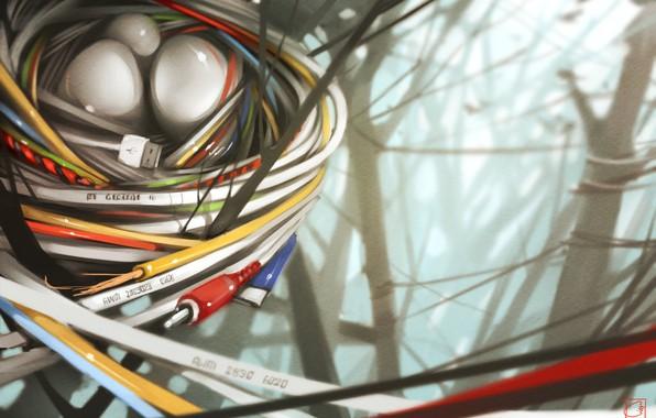Picture art, masonry, socket, cable, wire, Alexandra GaudiBuendia Khitrova, New nature