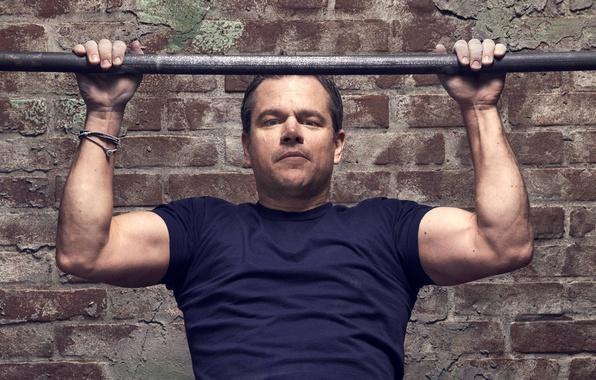 Picture wall, brick, hands, t-shirt, actor, Matt Damon, photoshoot, Matt Damon, the crossbar, for the film, …