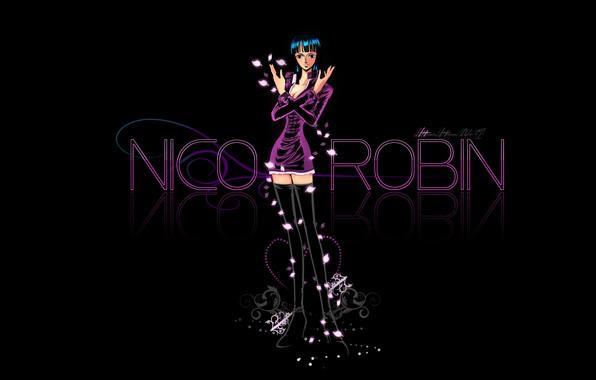 Picture One Piece, anime, black background, manga, anime girl, Nico Robin