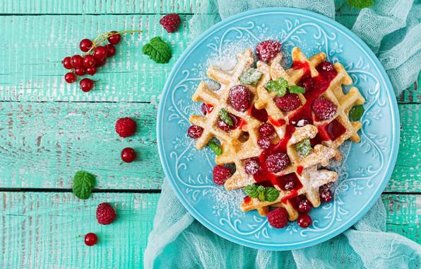 Picture berries, raspberry, plate, fresh, wood, waffles, berries, raspberry, wafer