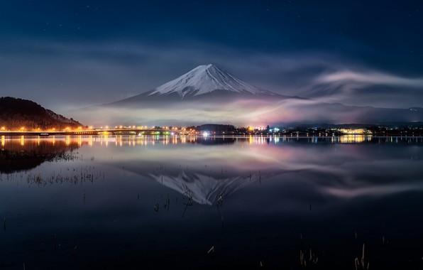 Picture water, night, reflection, Japan, Fuji, mount Fuji