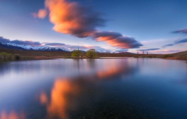 Picture water, clouds, trees, mountains, nature, lake, surface, tree, New Zealand